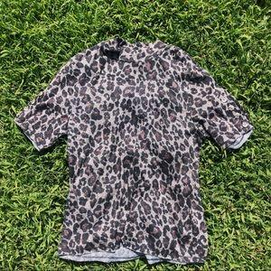 Jolt Leopard Cheetah Print Mock Neck Knit Top
